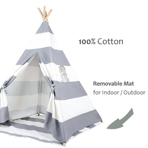 Grey stripes Kids Teepee Play Tent with mat-Home & Garden-CatCow Co