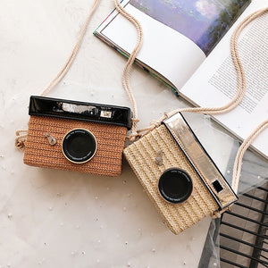 Zoe Rattan Camera Crossover handbag-CatCow Co