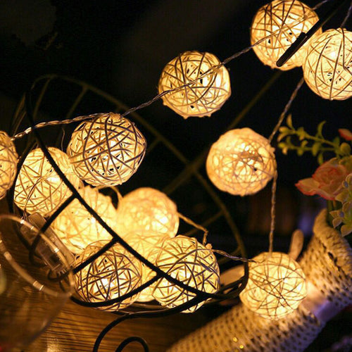 String Lights Rattan Ball Garlands indoor outdoor