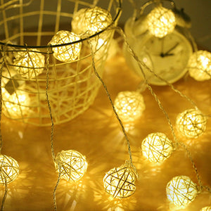 String Lights Rattan Ball Garlands indoor outdoor-CatCow Co