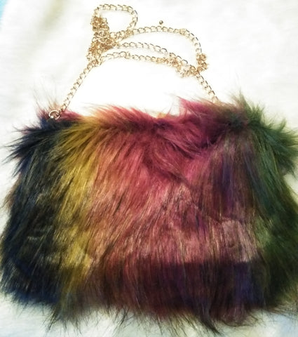 Rainbow Faux Fur Clutch