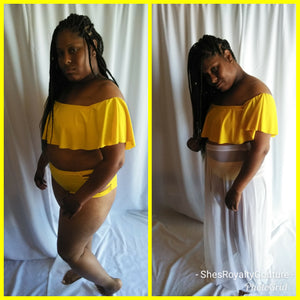 Yellow Off the Shoulder 2 Piece Swimwear