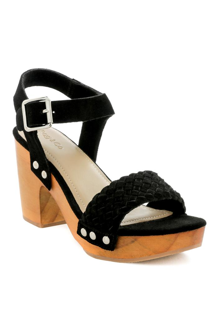 APRIL BLACK WOODEN CLOGS IN SUEDE WEAVE