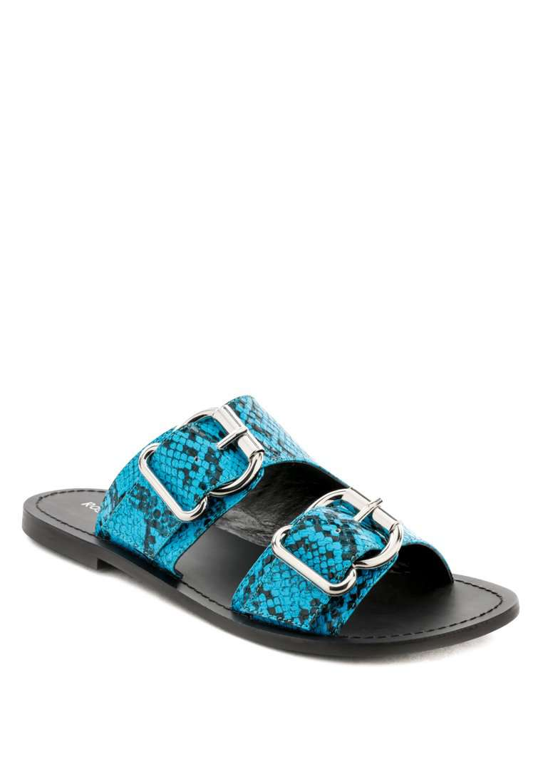 KELLY BLUE FLAT SANDAL WITH BUCKLE STRAPS