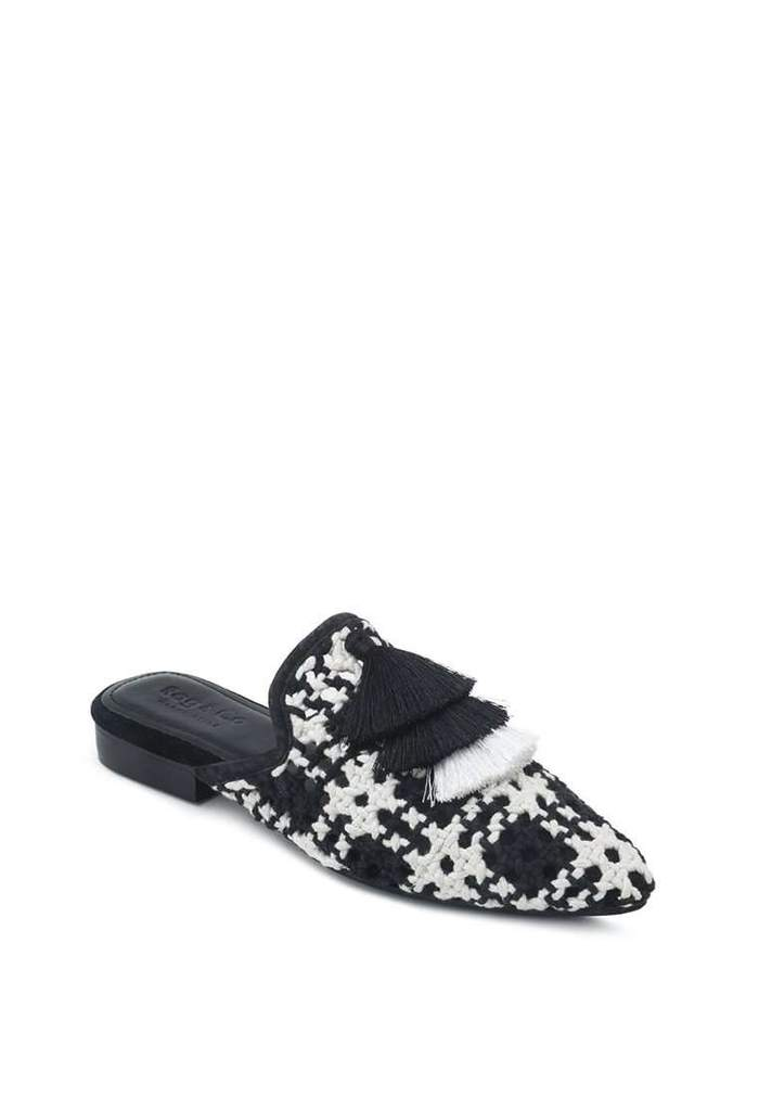 MARIANA BLACK WOVEN FLAT MULES WITH TASSELS
