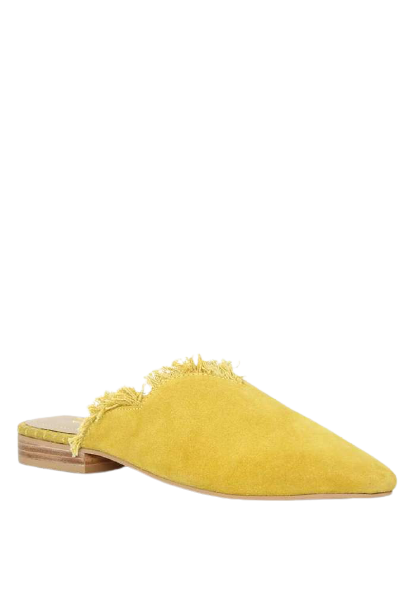 MOLLY MUSTARD FRAYED LEATHER MULES