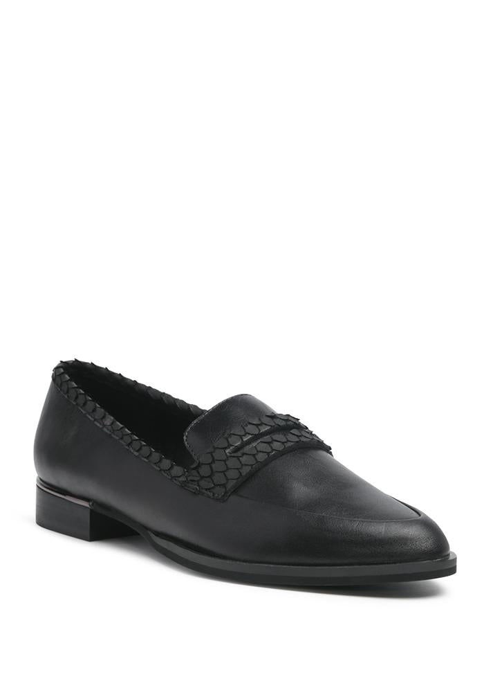 NADIA BLACK LEATHER PENNY LOAFERS