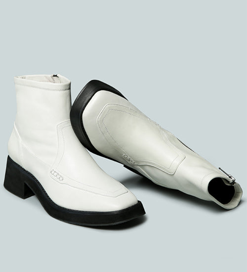OXMAN Classic White Ankle Boot