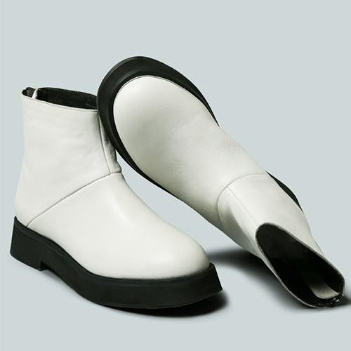 PALTROW Zip-up White Ankle Boot