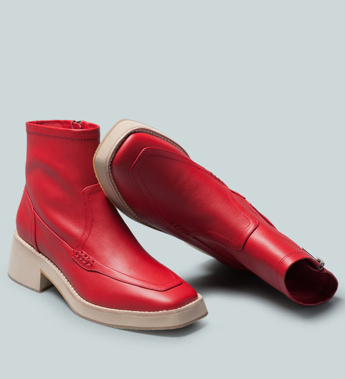 OXMAN Zip-up Red Ankle Boot