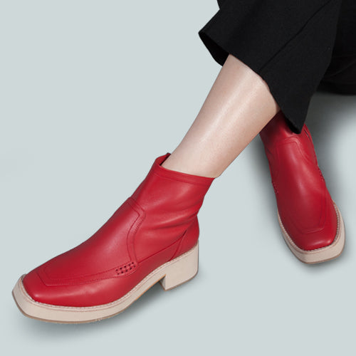 PALTROW Zip-up Red Ankle Boot