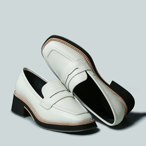 MOORE LEAD LADY LOAFERS IN WHITE