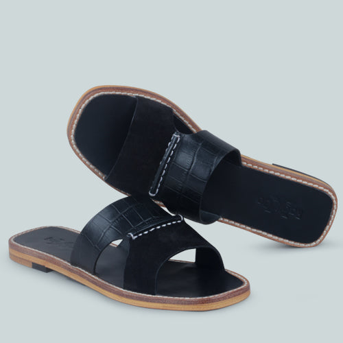 WOODLEY SLIP ON LEATHER FLATS IN BLACK
