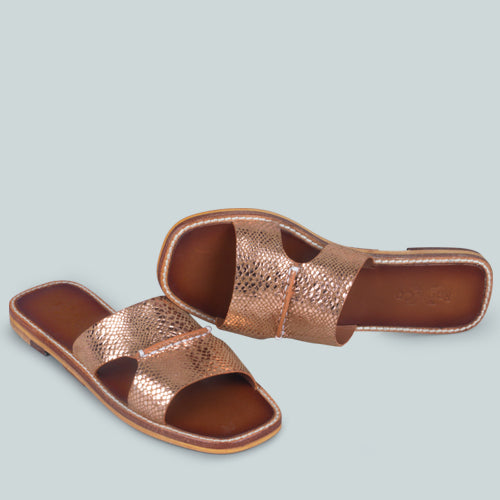 WOODLEY SLIP ON LEATHER FLATS IN NATURAL SNAKE