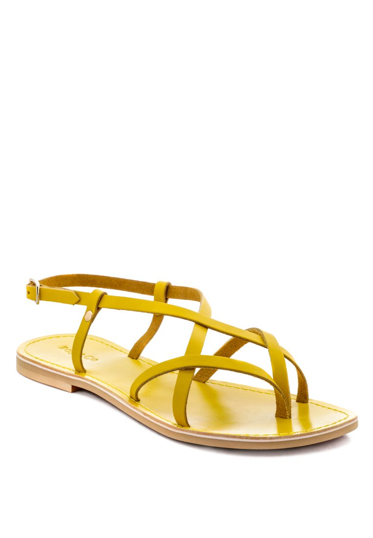 RITA YELLOW STRAPPY FLAT LEATHER SANDALS