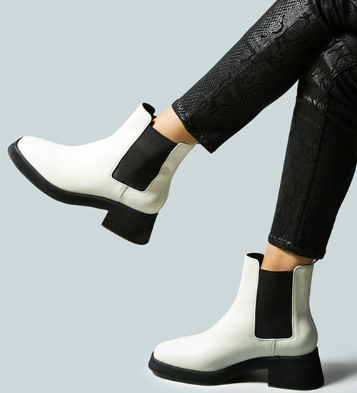 THERON Chelsea Upfront White Boot