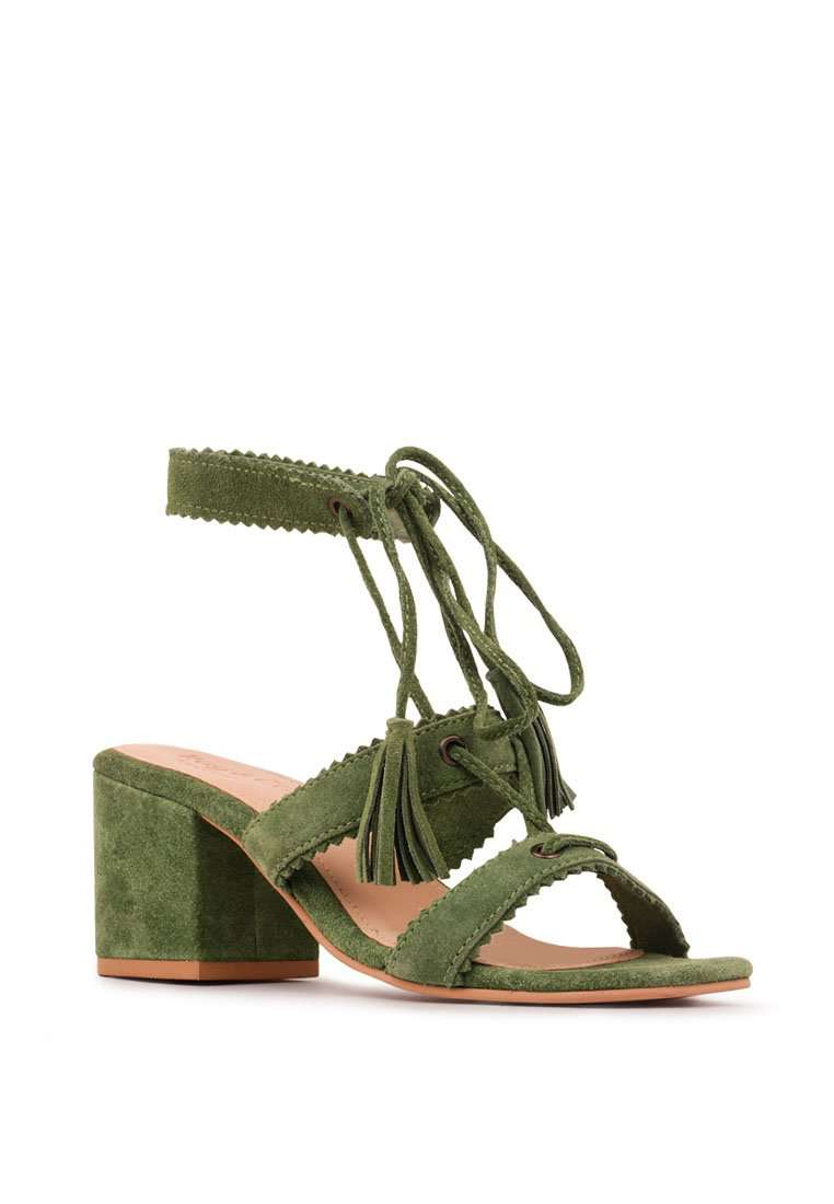ZENA GREEN SUEDE LEATHER SANDAL