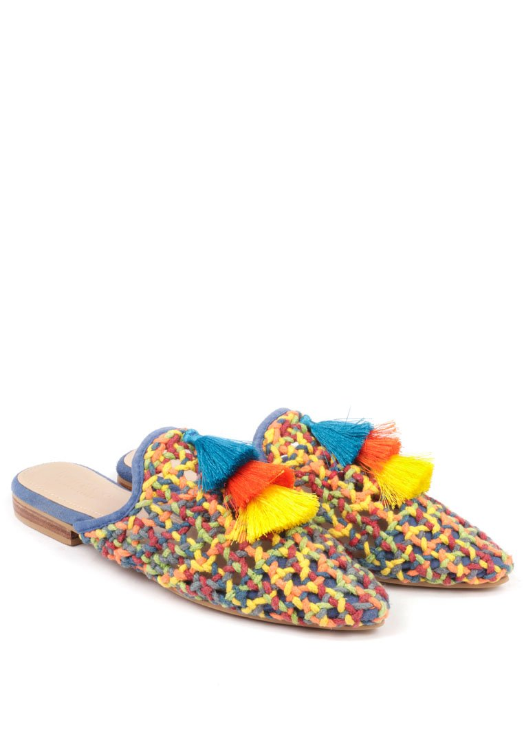 ZOOEY COLORFUL WOVEN FLAT MULES
