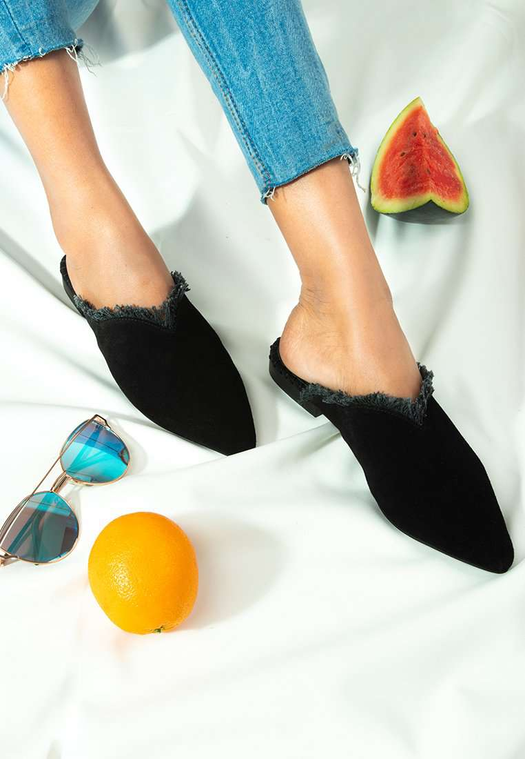MOLLY Black Frayed Leather Mules - RAGNCO