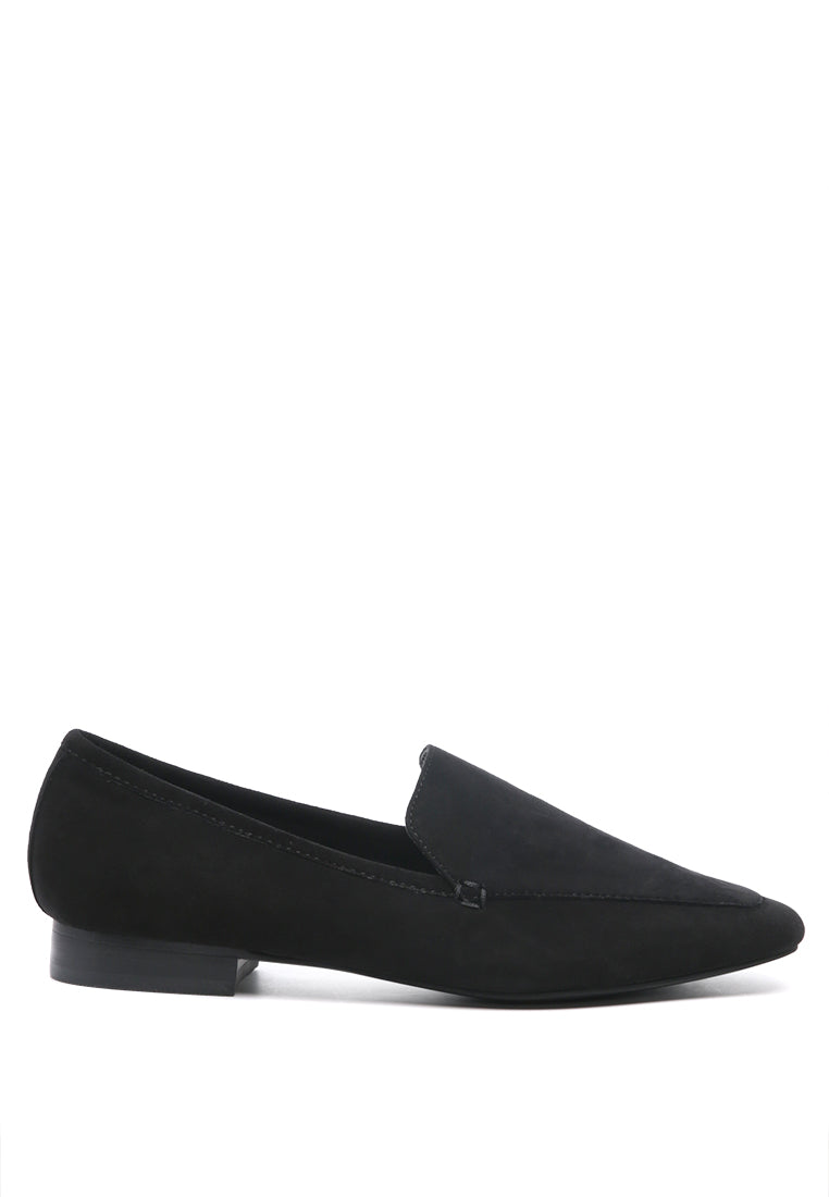 JULIA Black Leather Pointed Slip-on - RAGNCO