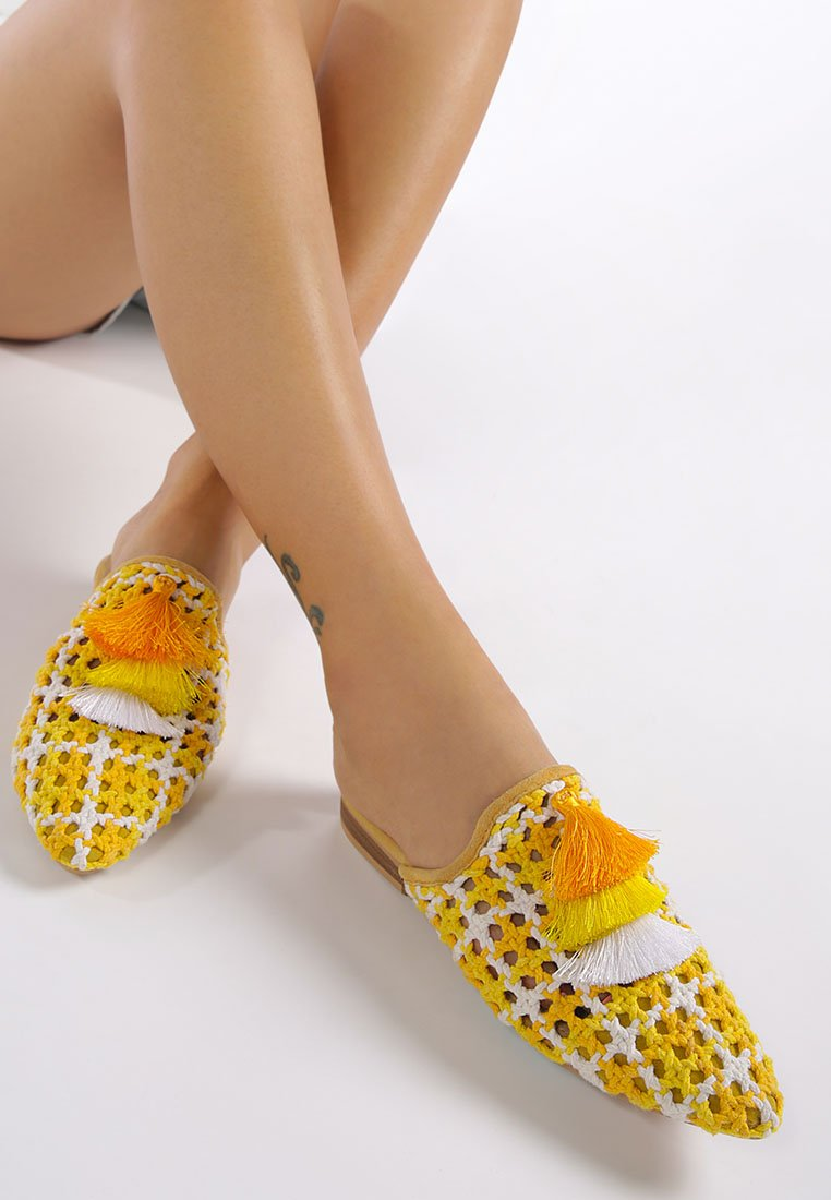 MARIANA Yellow Woven Flat Mules With Tassels - RAGNCO