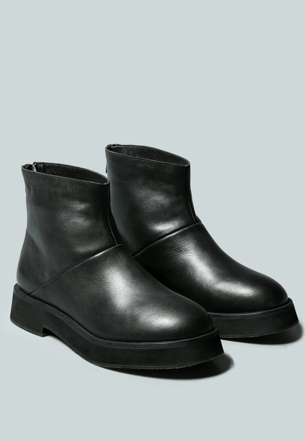 PALTROW Zip-up Black Ankle Boot - RAGNCO