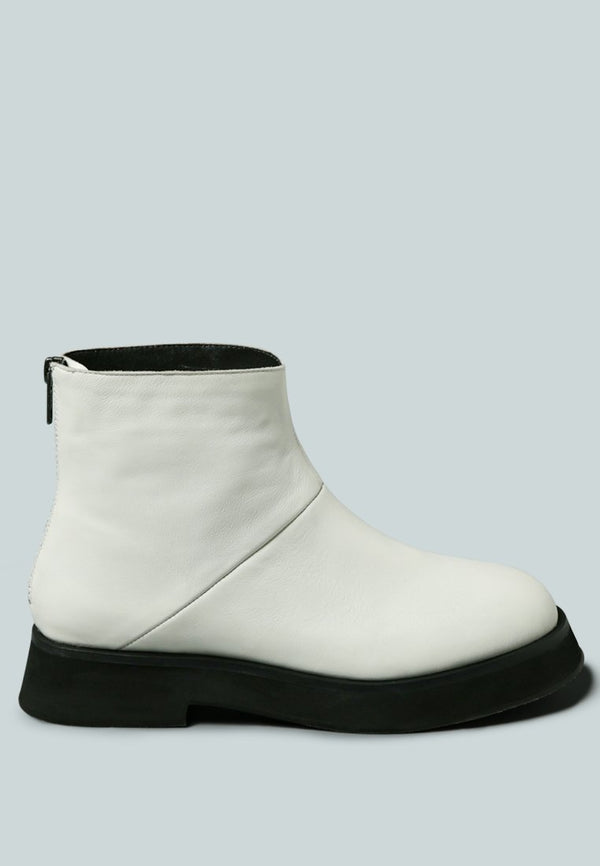 PALTROW Zip-up White Ankle Boot - RAGNCO