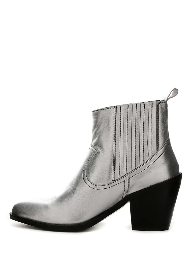 RAYNA Silver Metallic Leather Boots - RAGNCO