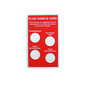FLUID SAMPLE CARDS -10/1