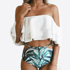 Ruffle top with high waist floral bottoms - Delfini Swimwear
