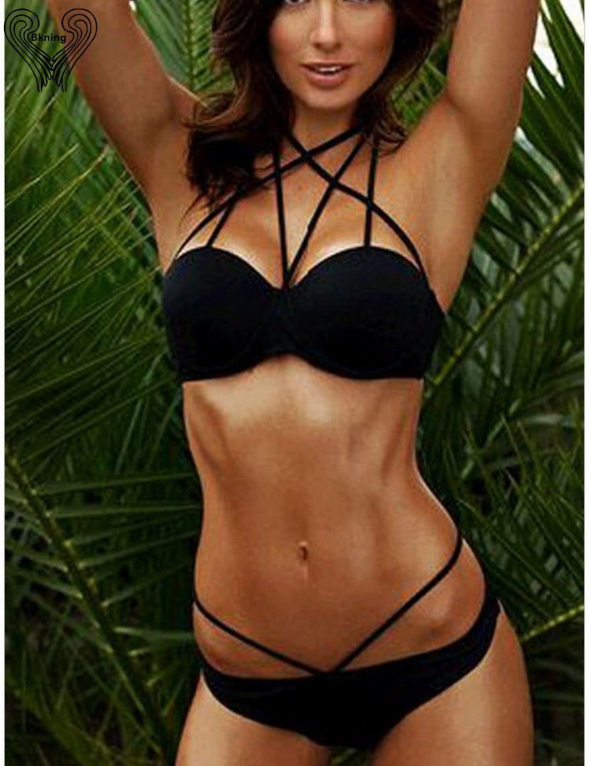 Plexus Black Halter Top Bikini Set - Delfini Swimwear