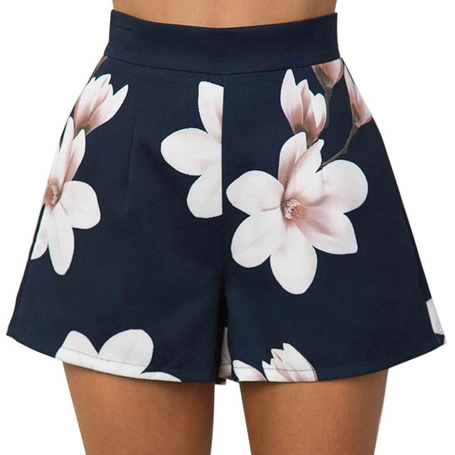 Floral High Waisted Shorts - Delfini Swimwear