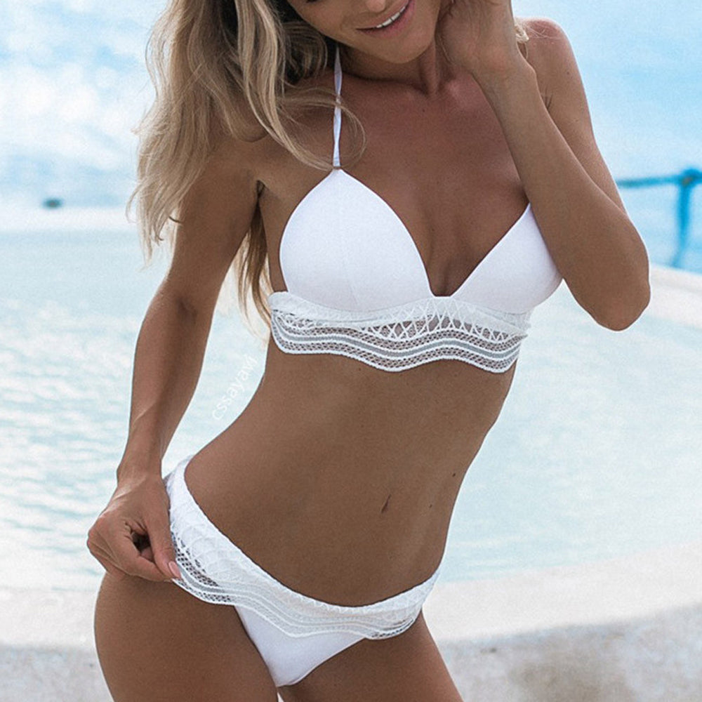 Ruffled white string bikini set - Delfini Swimwear