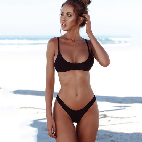 Solid Tied Bowknot High Waist Bikini Set