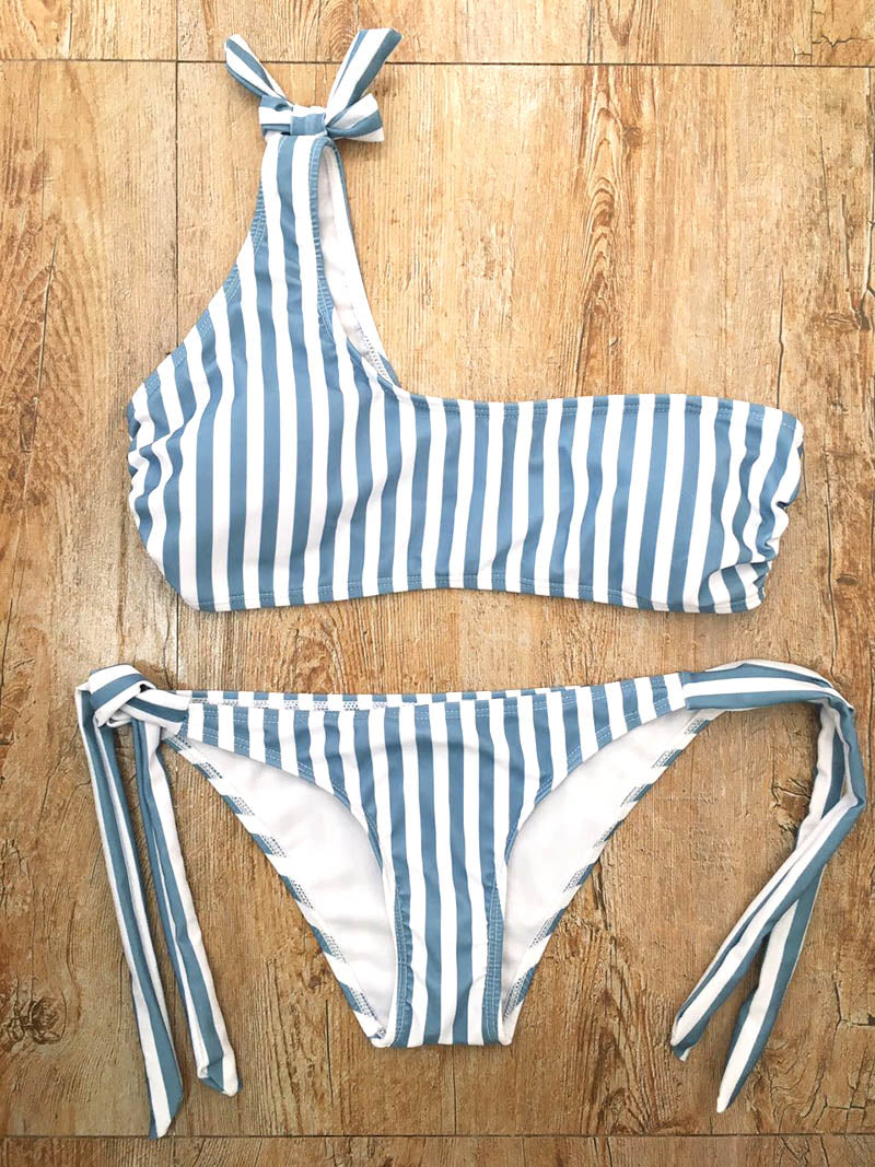 Kelsey One Shoulder bandage strap bikini set - Delfini Swimwear