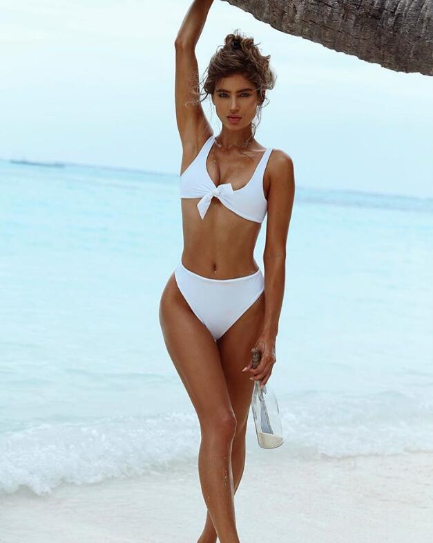 Tied front top high waist two piece - Delfini Swimwear