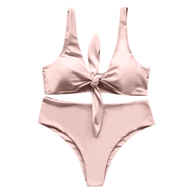 Solid Tied Bowknot High Waist Bikini Set - Delfini Swimwear