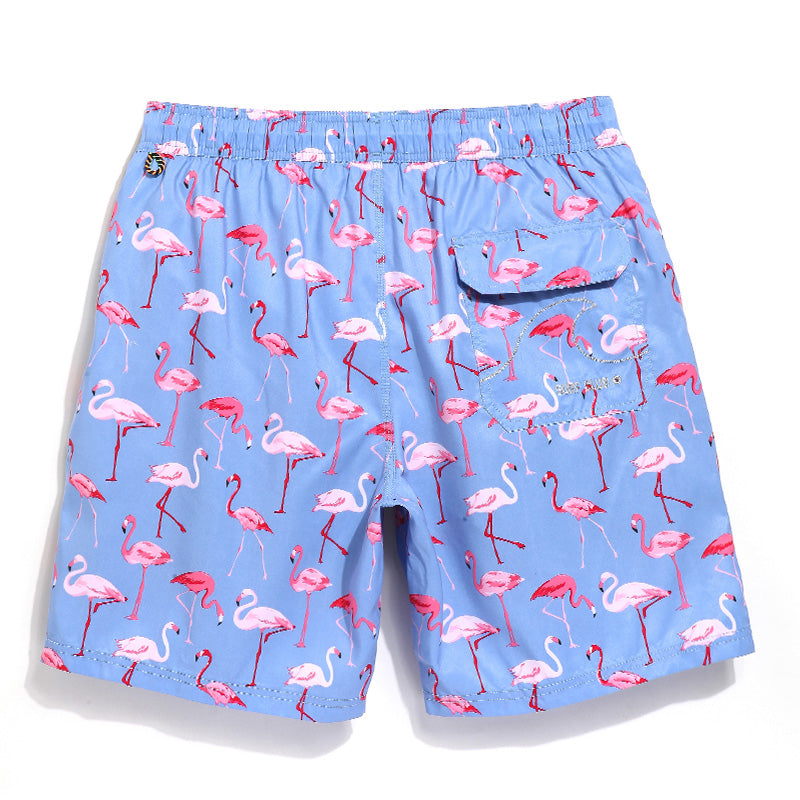 Couple Matching Flamingo Board Shorts - Delfini Swimwear
