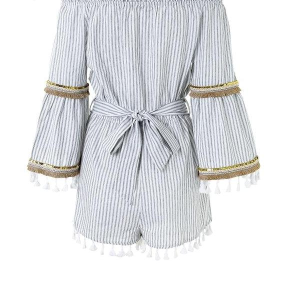 Camila tassel off shoulder play suit - Delfini Swimwear