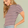 Crew Neck Striped T-shirt - Delfini Swimwear