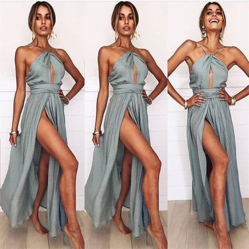 Halter Backless Long Dress - Delfini Swimwear