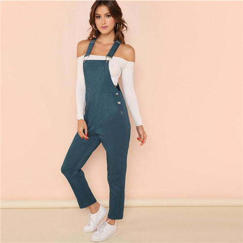 Button Patched Over-alls - Delfini Swimwear