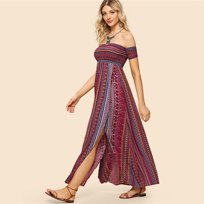 Tribal Print Shirred Dress - Delfini Swimwear