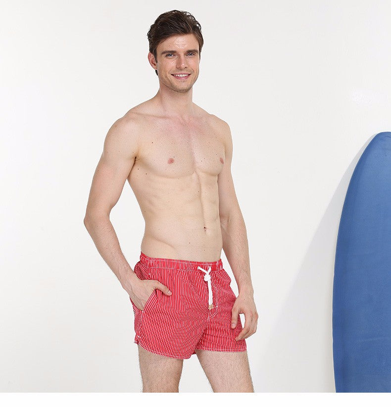 Bermuda Red Stripe Board Shorts - Delfini Swimwear