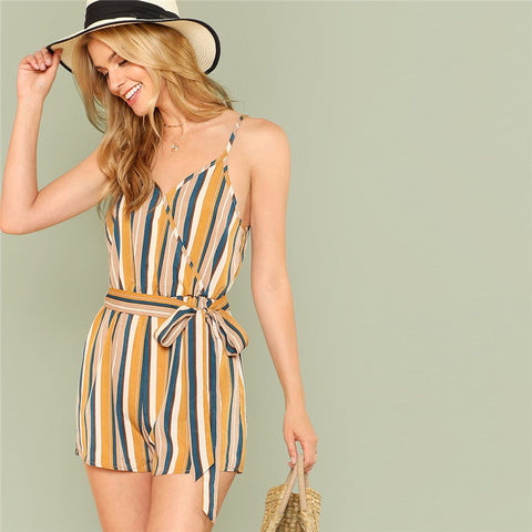 Vertical stripe beach playsuit