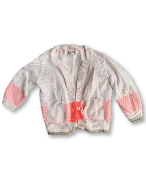 3-6 Months Coral and White Cardigan - Cotton On-Jackets-Wear it Again SA
