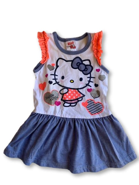 9-12 Months Short Sleeve Dress with Ruffle Sleeves - Hello Kitty-Top-Wear it Again SA