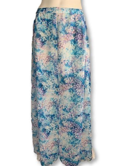 Size 10 Blue and Purple Floral Asymmetrical Hemline Skirt - Forever New-Skirts-Wear it Again SA
