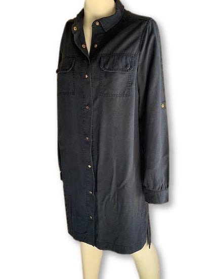 Size 10 Navy Shirt Dress with gold buttons - Forever New