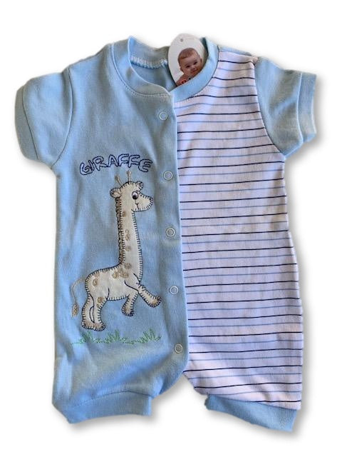 0-3 Months Light Blue Embroidered Short Sleeve Romper - Bebeemm-Rompers-Wear it Again SA